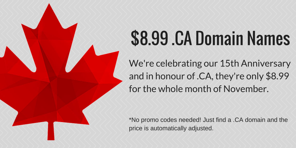 15th Anniversary - .CA Sale