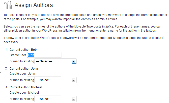 Assign Movable Type Authors to WordPress Users