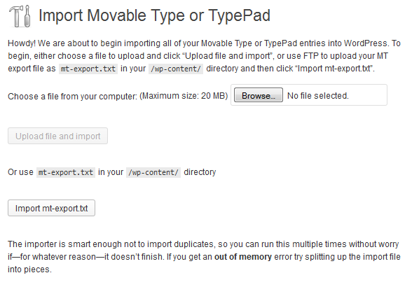 Convert from Movable Type to WordPress