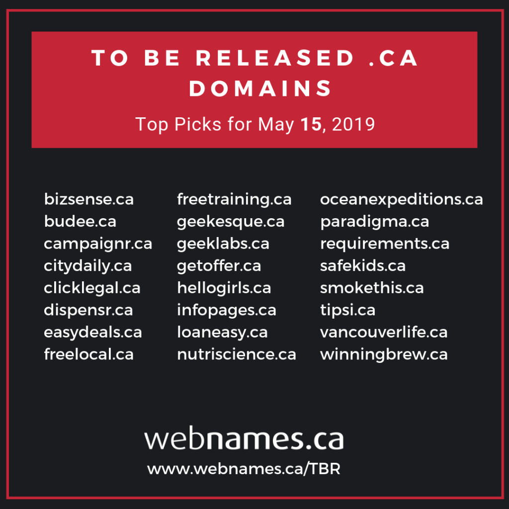 top picks of to be released .CA domain names