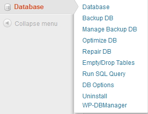 WP-DBManager Sidebar Menu