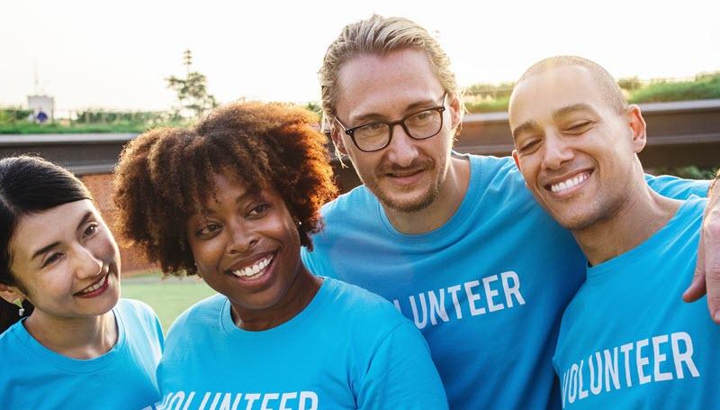 Group of people doing charitable volunteer work