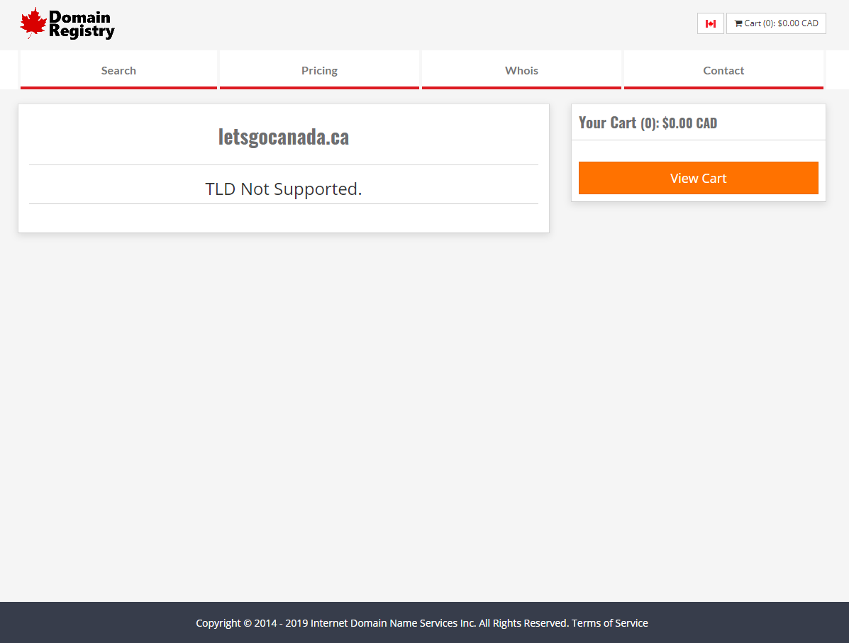 no .ca domain support on domain registry