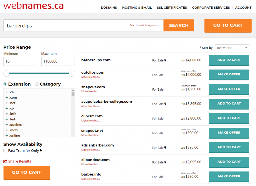 webnames domain marketplace search results
