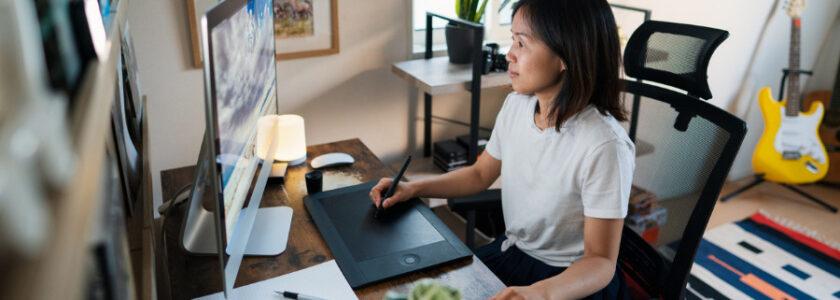 freelance designer working at home