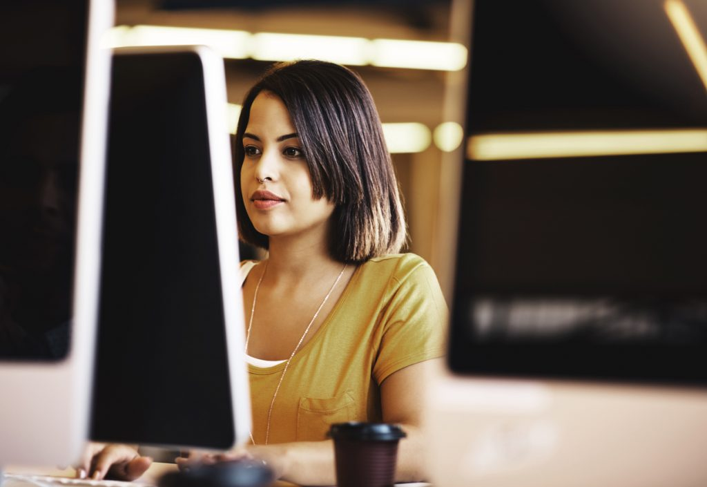 Woman using browser to access business website secured with SSL
