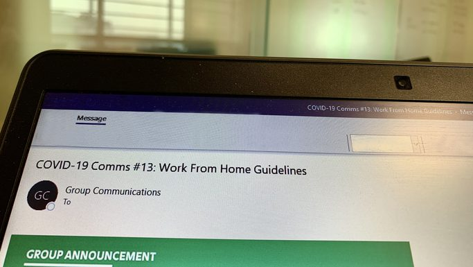 IT department email about covid-19 work from home guidelines