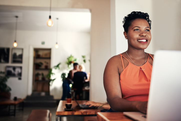 woman confidently researching online and interacting with content
