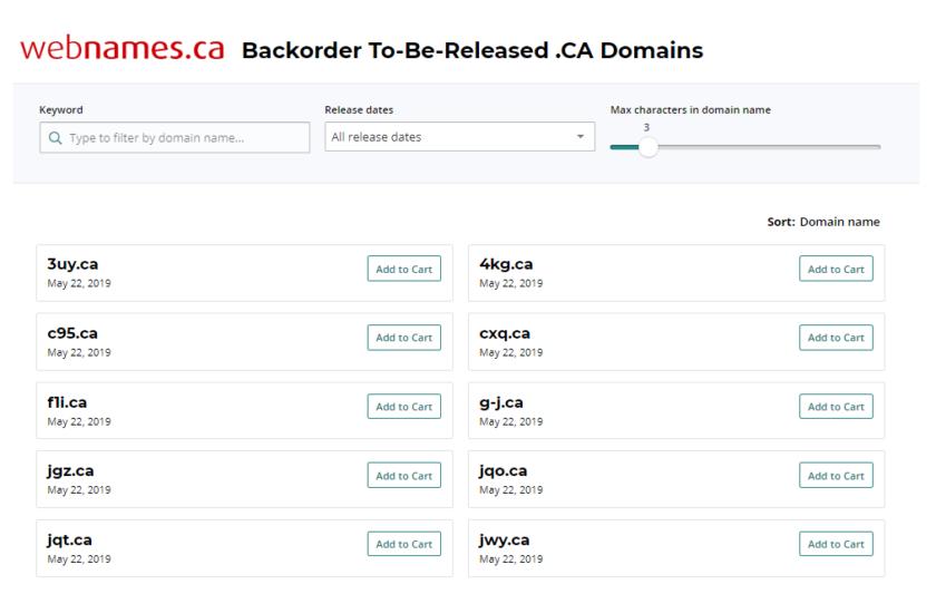 TBR .CA Domains