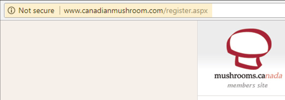 example of not secure warning in Chrome