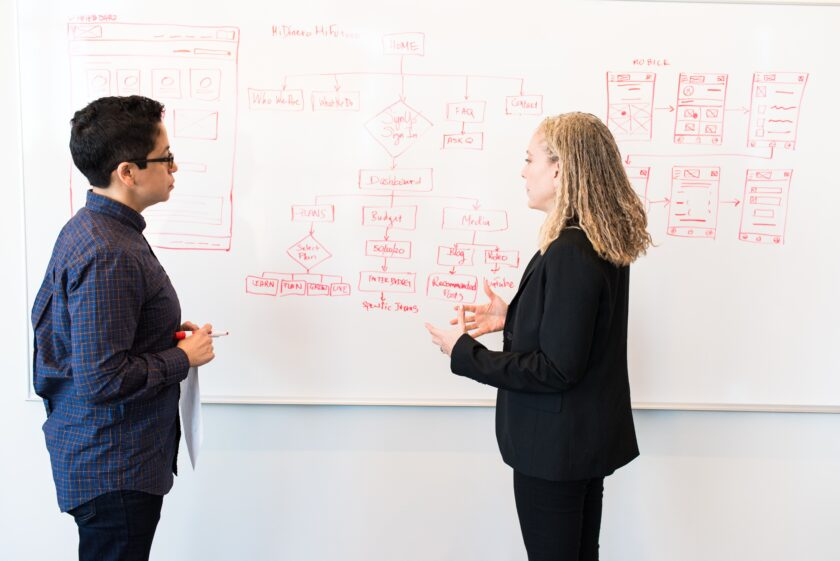Marketing expert discusses marketing strategy with small business owner in front of whiteboard