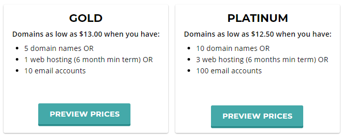 Webnames domain pricing tiers for owners of 5+ domains