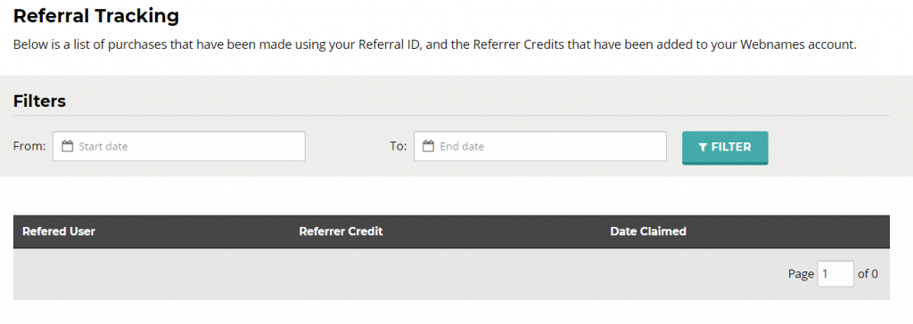 Referral tracking for Webnames Refer a Friend program in My Webnames account.