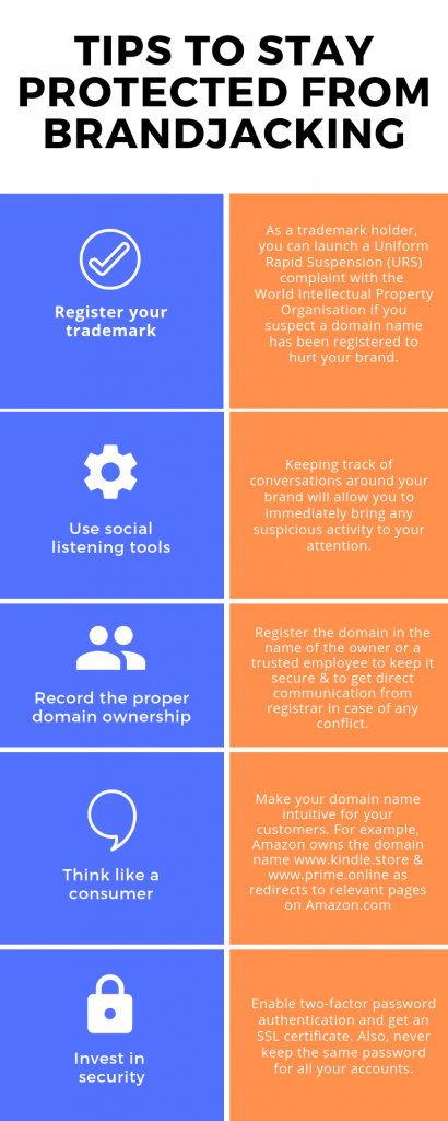 infographic of tips to prevent brandjacking