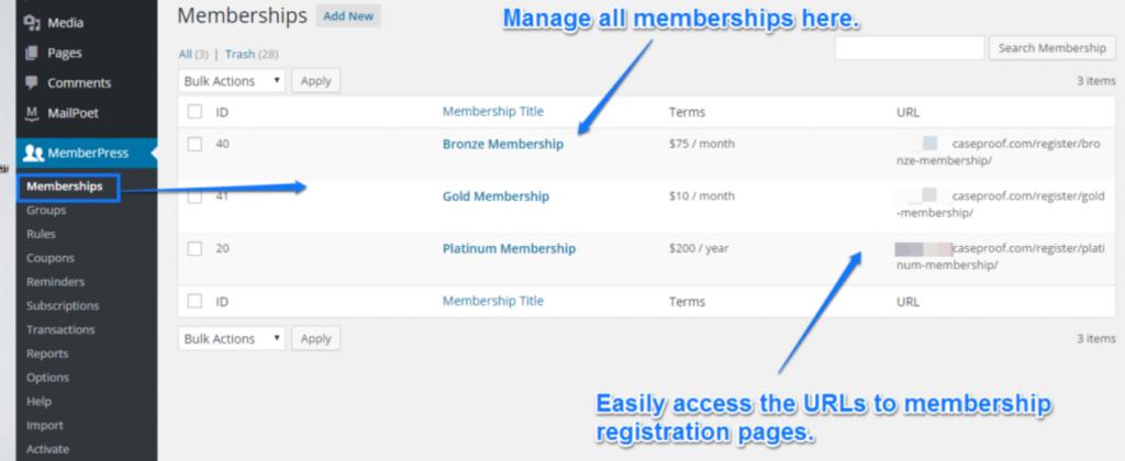 wordpress memberships management screen
